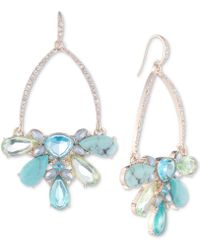 Carolee - Gold-tone Pavé & Multi-stone Drop Hoop Earrings - Lyst