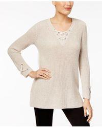 3a41b794c3a Lyst - Style   Co. Cowl-neck Lace-yoke Sweater