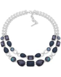 "Nine West - Silver-tone & Stone Double-row Statement Necklace, 16"" + 2"" Extender - Lyst"