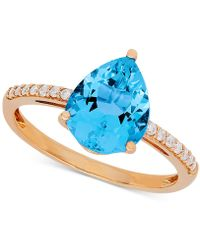 Macy's - Swiss Blue Topaz (2-2/3 Ct. T.w.) & Diamond (1/9 Ct. T.w.) Ring In 10k Gold - Lyst