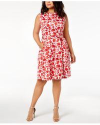 Anne Klein - Plus Size Floral-print Fit & Flare Sashed Dress - Lyst