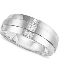 Triton - Men's Three-stone Diamond Wedding Band Ring In Stainless Steel (1/6 Ct. T.w.) - Lyst