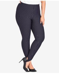 City Chic - Plus Size Simply Tailored Striped Pants - Lyst