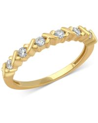 Macy's - Diamond Crisscross Band (1/4 Ct. T.w.) In 14k Rose, Yellow Or White Gold - Lyst