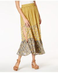 French Connection - Savana Mixed-print Pull-on Skirt - Lyst