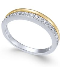 Macy's - Diamond Two-tone Band (1/4 Ct. T.w.) In 14k Gold & White Gold - Lyst