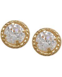 Macy's - Cubic Zirconia Circle Stud Earrings In 10k Gold - Lyst