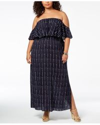 d697bbc55a7 Soprano - Trendy Plus Size Printed Off-the-shoulder Maxi Dress - Lyst