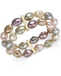 Charter Club - Gold-tone Imitation Pearl Double-row Stretch Bracelet, Created For Macy's - Lyst