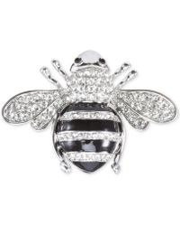 Nina - Silver-tone Pavé Honey Bee Pin - Lyst