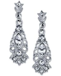 2028 - Silver-tone Crystal Navette Drop Earrings - Lyst