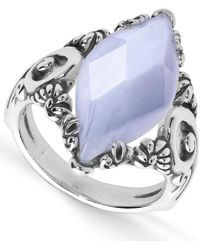 Carolyn Pollack - Blue Lace Agate (11x23mm) Marquis Ring In Sterling Silver - Lyst