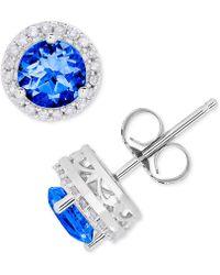 Macy's - Sapphire (1-1/4 Ct. T.w.) & Diamond (1/8 Ct. T.w.) Halo Stud Earrings In 14k White Gold - Lyst