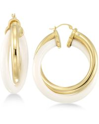 Signature Gold - Tm White Agate Double Hoop Earrings In 14k Gold Over Resin Core - Lyst