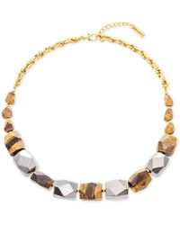 "Steve Madden - Two-tone & Stone Beaded Necklace, 24"" + 3"" Extender - Lyst"