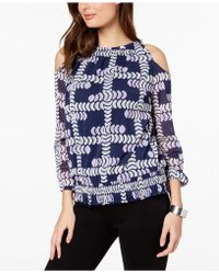Alfani - Printed Cold-shoulder Top, Created For Macy's - Lyst