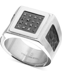 Macy's - Diamond Leather Ring (1/6 Ct. T.w.) In Stainless Steel - Lyst