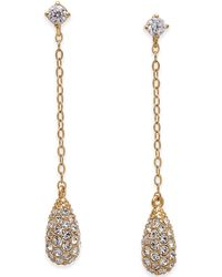 Danori - Gold-tone Pavé Drop Earrings - Lyst