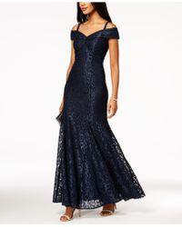 ba54660d Xscape Off-the-shoulder Mermaid Gown, Regular & Petite Sizes in Blue ...
