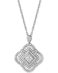 Macy's - Cubic Zirconia Clover Pendant Necklace In Sterling Silver - Lyst
