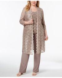 R & M Richards - 3-pc. Plus Size Sequined Lace Pantsuit & Shell - Lyst