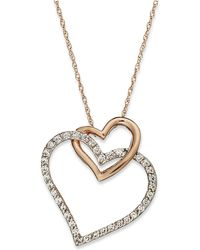 Macy's - Diamond Double-heart Pendant Necklace In 10k Rose Gold (1/4 Ct. T.w.) - Lyst