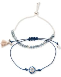 Lonna & Lilly - Silver-tone 2-pc. Set Crystal, Bead & Tassel Corded Slider Bracelets - Lyst