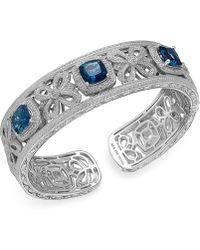 Macy's - London Blue Topaz (7-3/4 Ct. T.w.) And Diamond (1/10 Ct. T.w.) Bangle Bracelet In Sterling Silver - Lyst