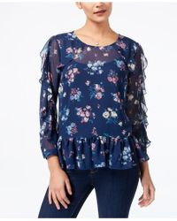 Style & Co. - Ruffled Mesh Top - Lyst