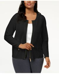 CALVIN KLEIN 205W39NYC - Plus Size Stitched Knit Moto Jacket - Lyst