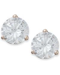 Arabella - 14k Rose Gold Earrings, Swarovski Zirconia Stud Earrings (7mm) - Lyst