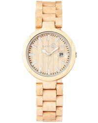 Earth Wood - Stomates Wood Bracelet Watch W/date Khaki 40mm - Lyst