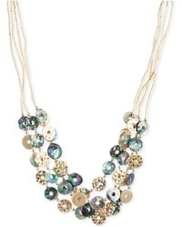 Lonna & Lilly - Gold-tone Tube Chain Multi-disc Collar Necklace - Lyst