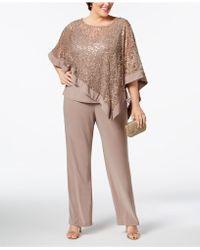 R & M Richards - Plus Size Sequined Lace Pantsuit - Lyst