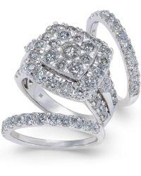 Macy's - Diamond Cluster 3-pc. Bridal Set (4 Ct. T.w.) In 14k White Gold - Lyst