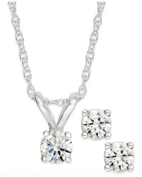 Macy's - Round-cut Diamond Pendant Necklace And Earrings Set In 10k Gold (1/6 Ct. T.w.) - Lyst