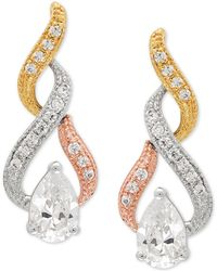 Macy's - Cubic Zirconia Tricolor Swirl Drop Earrings In Sterling Silver & 14k Gold- And Rose Gold-plate - Lyst