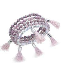 INC International Concepts - Silver-tone Bead & Tassel Multi-layer Stretch Bracelet - Lyst