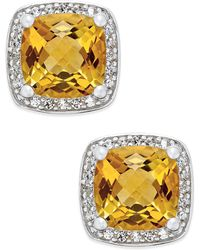 Macy's - Citrine (1-3/4 Ct. T.w.) And Diamond (1/8 Ct. T.w.) Halo Stud Earrings In Sterling Silver - Lyst
