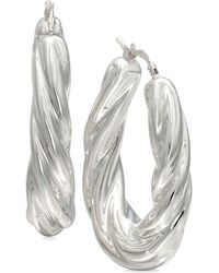 Macy's - Fluted Oval Hoop Earrings In Sterling Silver - Lyst