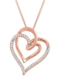 """Macy's - Diamond Intertwining Hearts 18"""" Pendant Necklace (1/10 Ct. T.w.) In 14k Rose Gold-plate - Lyst"""