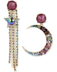 Betsey Johnson - Gold-tone Multi-stone Moon & Star Fringe Mismatch Drop Earrings, Created For Macy's - Lyst