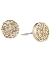 Anne Klein - Crystal Pavé Button Stud Earrings - Lyst