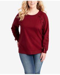 Jessica Simpson - Trendy Plus Size Lace-up Sweatshirt - Lyst
