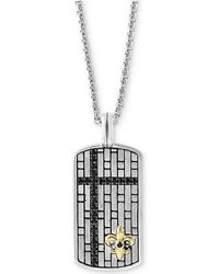"Effy Collection - Black Sapphire Dog Tag 22"" Pendant Necklace (3/4 Ct. T.w.) In Sterling Silver & 14k Gold - Lyst"