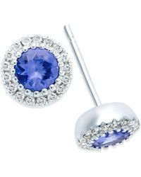 Macy's - Tanzanite (1/2 Ct. T.w.) And Diamond Accent Stud Earrings In 14k White Gold - Lyst