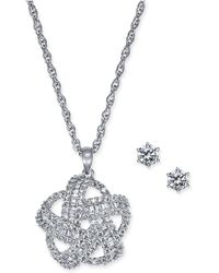 Charter Club - Silver-tone 2-pc. Set Crystal Baguette Knot Pendant Necklace & Crystal Stud Earrings, Created For Macy's - Lyst