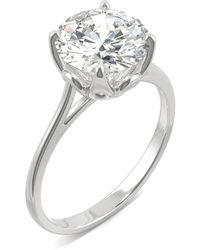 Charles & Colvard - Moissanite Round Solitaire Ring (2-3/4 Ct. Tw. Diamond Equivalent) In 14k White Gold - Lyst