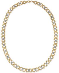 Macy's - Two-tone Beaded Link Collar Necklace In 14k Gold & White Gold - Lyst