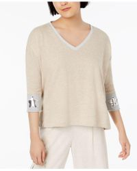 525 America Petite Sequined Star-cuff Top, Created For Macy's